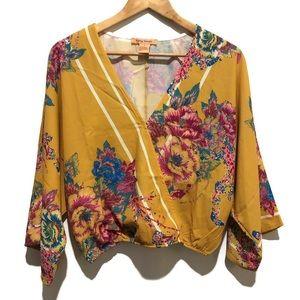 Flying Tomato Faux Wrap Crop Top Kimono Sleeves M